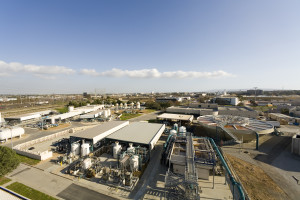 Edward C. Little Water Recycling Facility (Aerial view, day), by Vince Streano